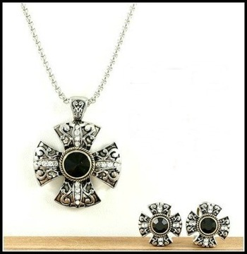 White Sapphire Necklace and Earrings Set