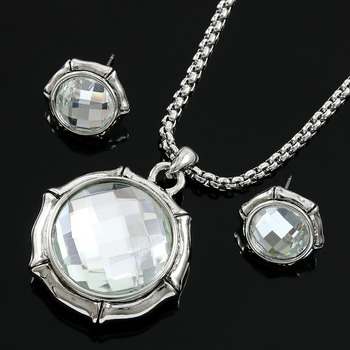 White Topaz Set of Necklace and Earrings