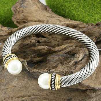 White & Yellow Gold Over High Polish Layered Lead Free High End Jewelry Pearl Bangle Cable Bracelet