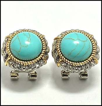 White&Yellow Gold Overlay, 1.0ctw White Sapphire & Pressed Turquoise Earrings