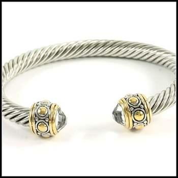 White&Yellow Gold Overlay, 3.14ctw White Sapphire Bangle Bracelet