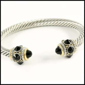 White&Yellow Gold Overlay, 5.10ctw Black Onyx Bangle Bracelet