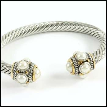 White&Yellow Gold Overlay, 5-6mm White Fresh Water Pearl Bangle Bracelet