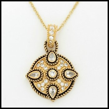 Yellow Gold over Sterling Silver Genuine White Topaz Circle Necklace