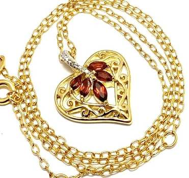Yellow Gold Overlay, 0.01ctw Genuine Diamond & 0.75ctw Garnet Necklace