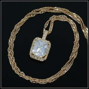 Yellow Gold Overlay, 3.50ctw White Sapphire Necklace