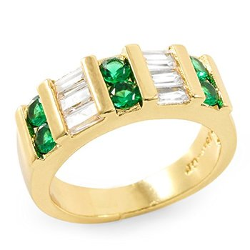 Yellow Gold Plated Round & Baguette Cut Cubic Zirconia CZ Band Ring Size 7