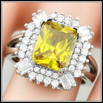 Yellow & White Topaz Ring Size 8