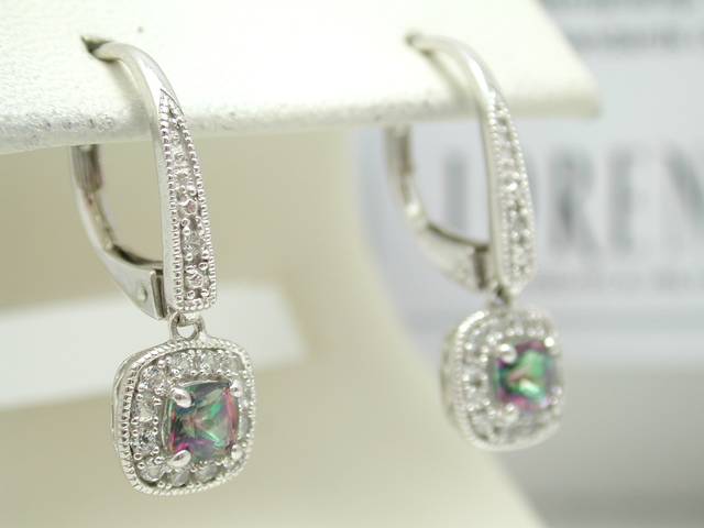 Authentic Coloresg By Lorenzo 925 Sterling Silver 18k White Gold Shire Genuine Mystic Topaz Earrings