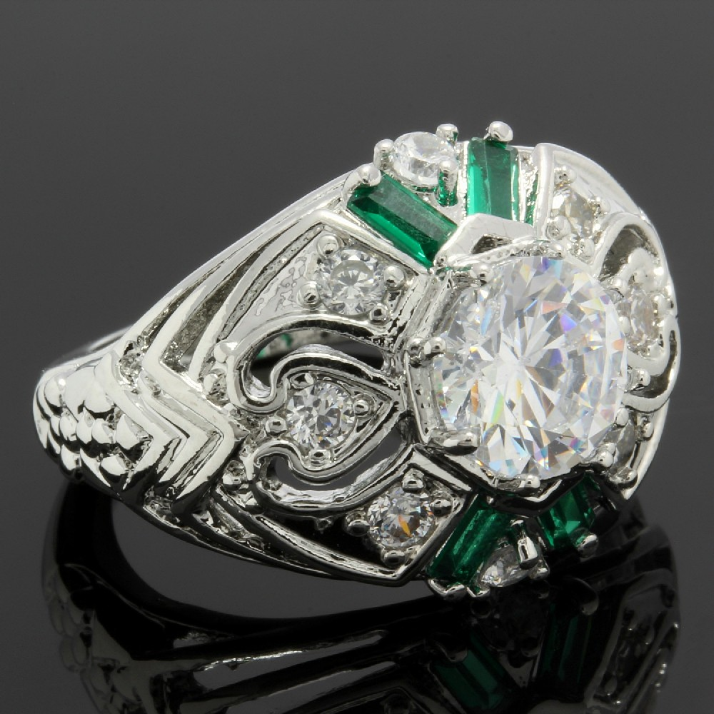 2.10ctw Emerald & White Sapphire Ring Size 6.5 | Property Room