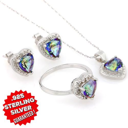 Ctw Genuine Mystic Sterling Ring