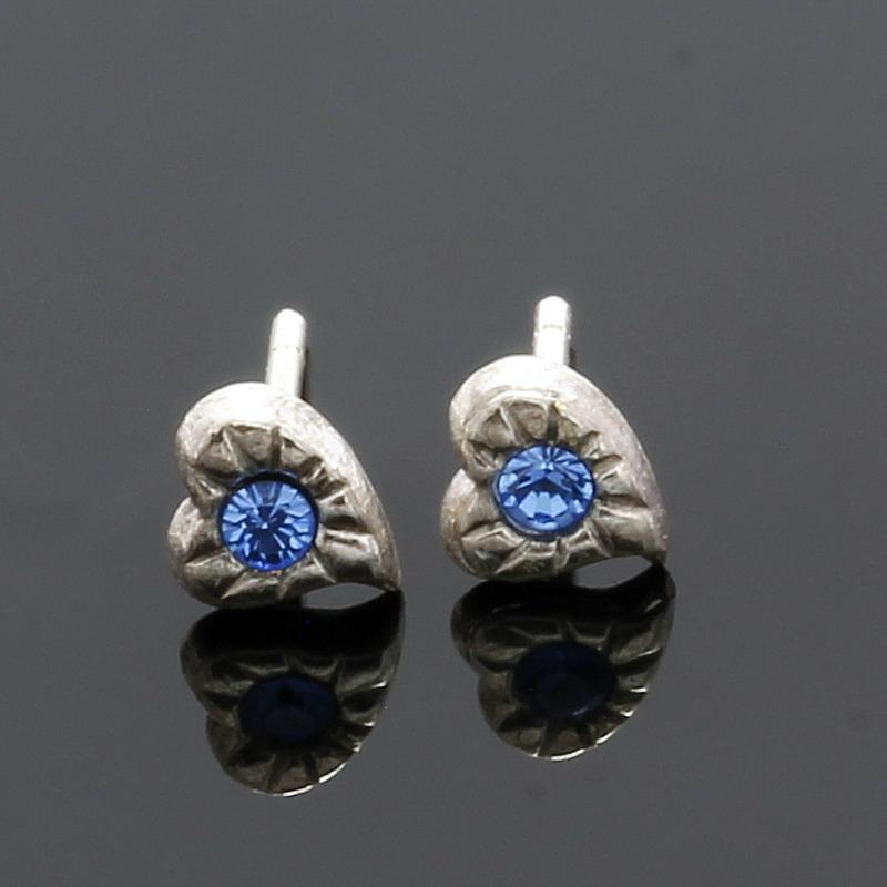 925 Sterling Silver Tanzanite Heart Stud Earrings