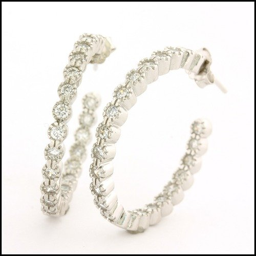 925 Sterling Silver White Gold Plated Diamonique Hoop
