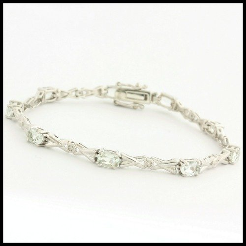 Authentic Lorenzo 925 Sterling Silver 3 60ctw Genuine Green Quartz 0 01ctw Diamond Bracelet