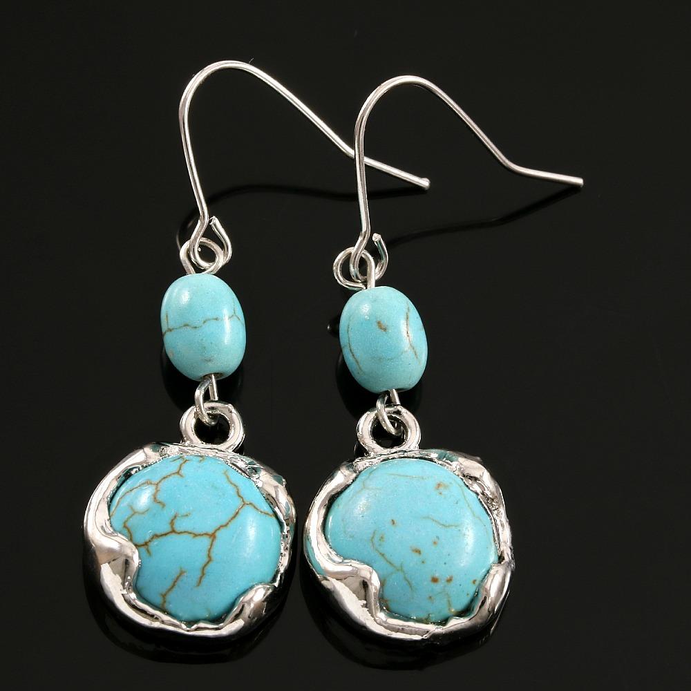Designer Pressed Turquoise Earrings