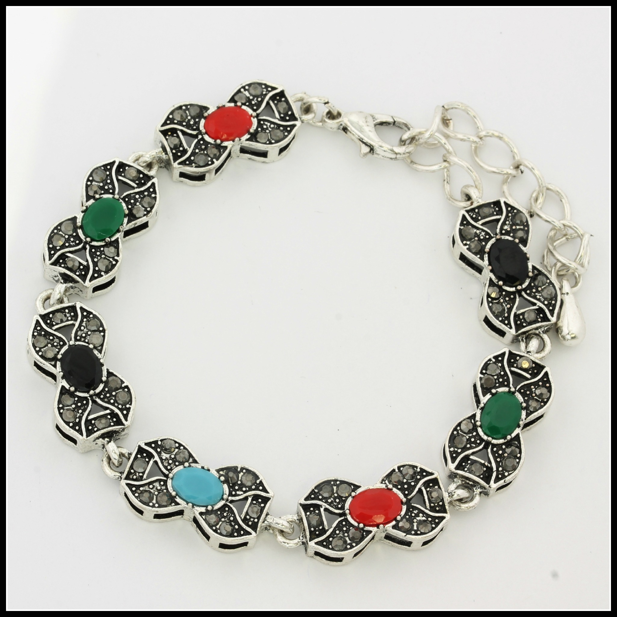 Fine Jewelry Br With 18k White Gold Overlay Multi Color Gemstones Bracelet