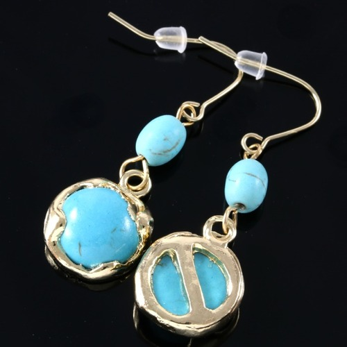 real turquoise earrings genuine pressed turquoise designer earrings property room 6264