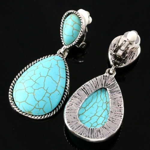Pressed Turquoise Designer Clip Earrings