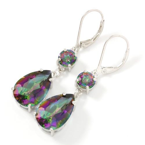 Solid 925 Sterling Silver 11 50ctw Green Mystic Topaz Drop Earrings
