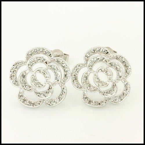 Sterling Silver Open Work Rose Diamonique Earrings