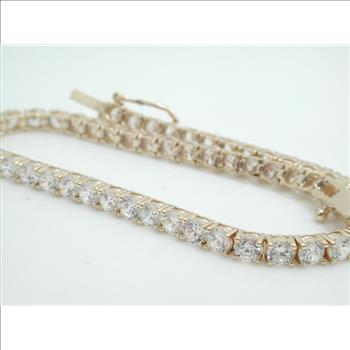1950 10k Yellow Gold Diamonique Tennis Bracelet