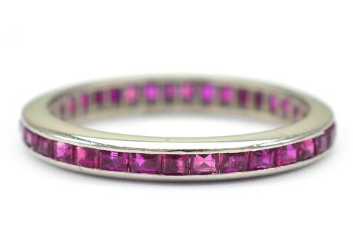 14K White Gold 2.35 Grams Princess Cut Natural Ruby Eternity Ring