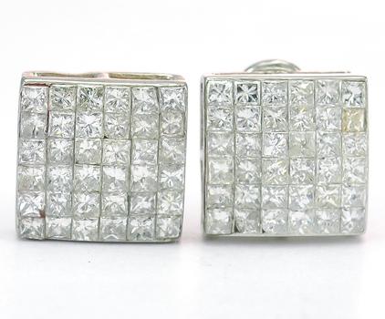 14K White Gold 5.23 Grams 2.00 Carats t.w. Princess Cut Diamond Square Lady's Earrings