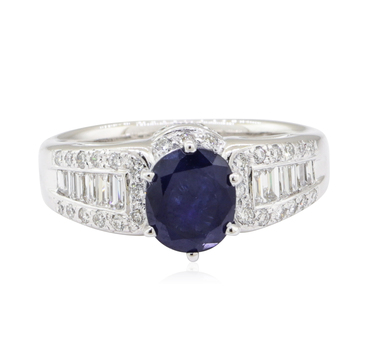 14K White Gold 5.50 Grams Diamond Ring w/ Sapphire Center Stone