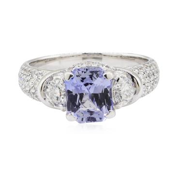 18K White Gold 6.00 Grams Diamond Ring w/ Sapphire Center Stone