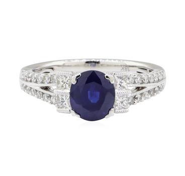 18K White Gold 3.70 Grams Diamond Ring w/ Sapphire Center Stone