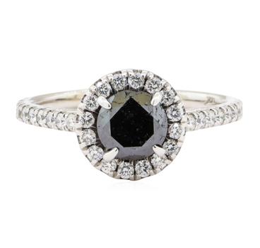 14K White Gold 2.70 Grams Diamond Halo Style Ring w/ Black Diamond Center Stone