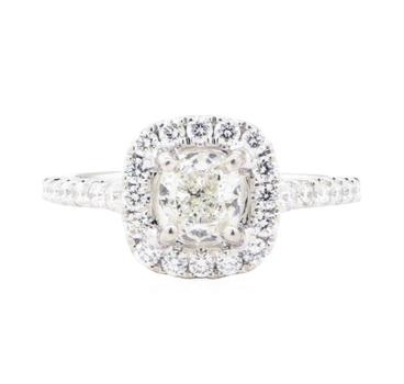 14K White Gold 3.20 Grams Diamond Square Halo Style Ring