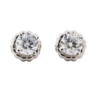 14K White Gold 1.10 Grams Diamond Earrings