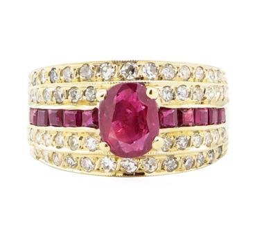 14K Yellow Gold 8.20 Grams Diamond & Ruby Fashion Ring