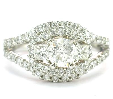 18K White Gold 5.60 Grams 1.54 Carats t.w. Diamond Halo Style Split Shank Lady's Ring