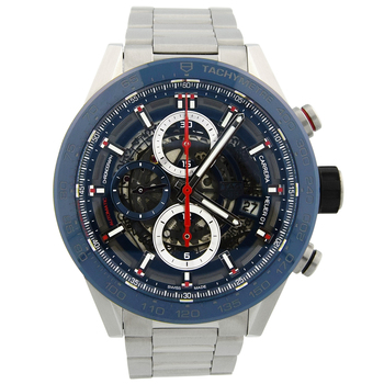 Tag Heuer Mens Carrera Stainless Steel 43mm Blue Skeleton Dial CAR201T
