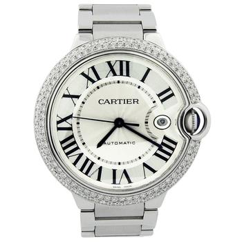 Cartier Mens Ballon Bleu Stainless Steel 42mm Silver Roman Dial 3765