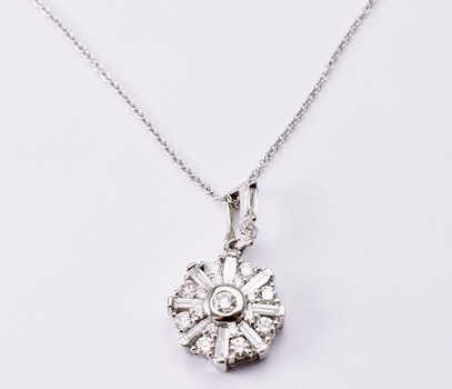 14K White Gold 4.00 Grams 1.00 Carat t.w. Baguette and Round Diamond Circle Pendant With Gold Chain