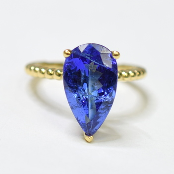 14K Yellow Gold 3.60 Grams Pear Cut Tanzanite Stone Ring