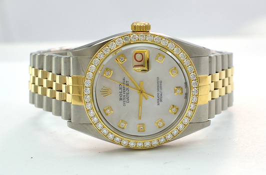 Rolex Datejust Two Tone Mother of Pearl Diamond Dial Watch 36 MM