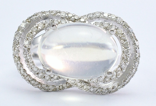 14K White Gold 9.78 Grams 0.84 Carat t.w. Diamond Cocktail Ring With Blue Moon Center Stone