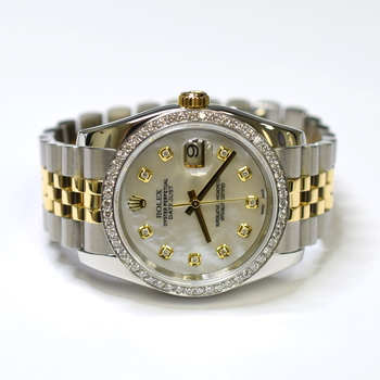 Rolex DateJust 36mm Stainless Steel and 18K Gold Custom Diamond MOP Watch 116233