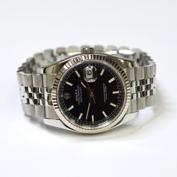 Rolex DateJust 36mm Stainless Steel Mens Watch With Fluted Gold Bezel 116234