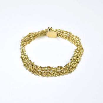 14K Yellow Gold 18.25 Grams Four Strand Rope Chain Bracelet