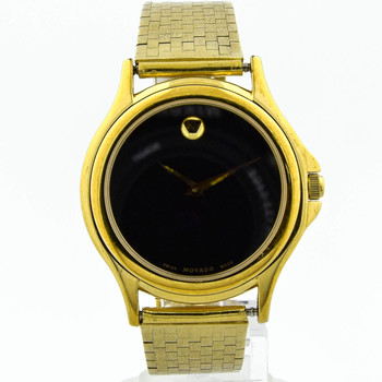 Movado Unisex Stainless Steel & Plated 38mm Black Dial Watch on 34.50 Grams 14KT Yellow Gold Bracelet87 E4 0863