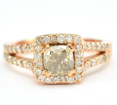 14K Yellow Gold 4.70 Grams 1.39 Carat t.w. Diamond Square Halo Style Split Shank Ring