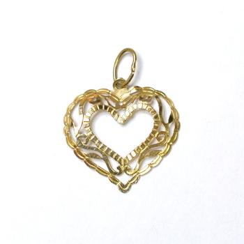 10K Yellow Gold Diamond Cut Design Heart Pendant