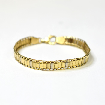 14K Two Tone Gold 7.86 Grams Link Chain Bracelet