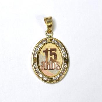 "10K Yellow Gold 1.05 Grams ""15 Anos"" Oval Shape Pendant"