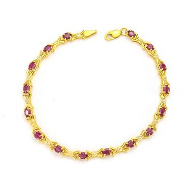10K Yellow Gold 5.60 Grams Ruby and Diamond Lady's Bracelet